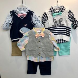 NEW 3 full outfits of boys WONDER NATION vest sets